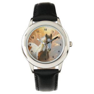 Malen Sie PferdeEdelstahl-Kinderuhr Armbanduhr