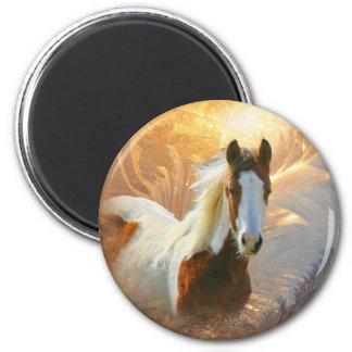 Malen Sie Pferdegoldmagneten Runder Magnet 5,1 Cm