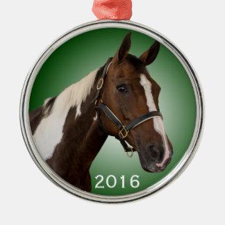 Malen Sie Pferdeverzierungs-Grün Silbernes Ornament