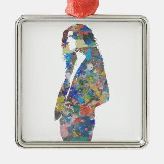 Malen Sie Spritzer-Porträt Silbernes Ornament