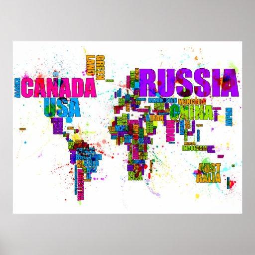 Malen Sie spritzt Textabbildung der Welt Poster