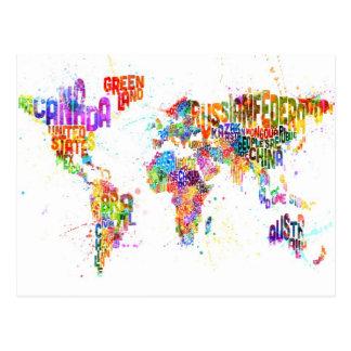 Malen Sie spritzt Textabbildung der Welt Postkarten