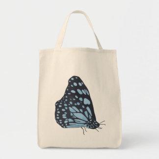 Malende schwarzer Schmetterlings-blaue Tragetasche