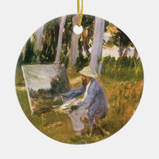Malender Claude Monet, Rand eines Holzes durch Keramik Ornament