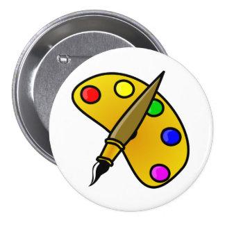 Maler-Farbpaletten-Knopf Runder Button 7,6 Cm