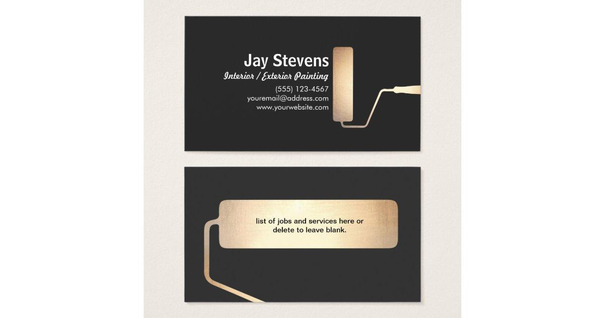maler goldfarben rollen schwarz visitenkarte visitenkarten. Black Bedroom Furniture Sets. Home Design Ideas