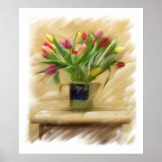 Malerei auf Leinwand.  Tulpen Poster