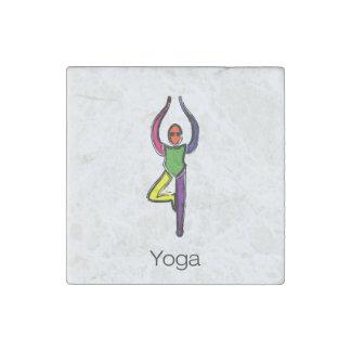 Malerei der Baumyoga-Pose mit Yogatext Stein-Magnet