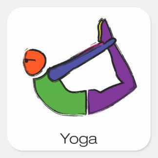 Malerei der Bogenyoga-Pose mit Yogatext Quadratischer Aufkleber