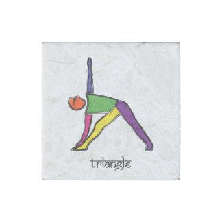 Malerei der Dreieckyoga-Pose mit Sanskrit Text Steinmagnet