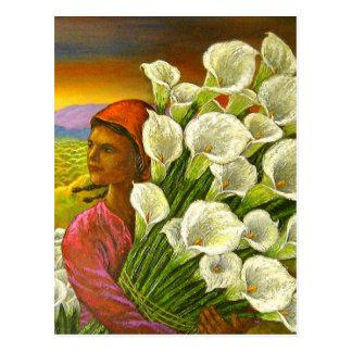 Malerei der Frau mit Calla-Lilien-Postkarte Postkarte