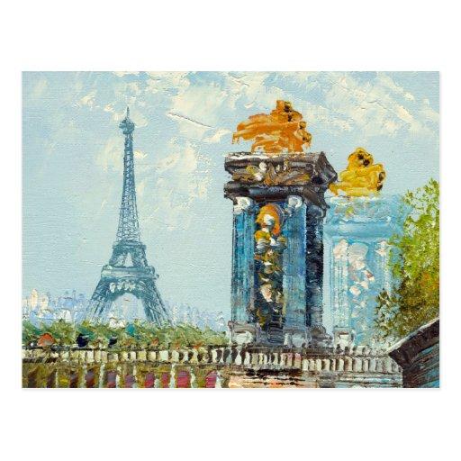 Malerei der Paris-Eiffelturm-Szene Postkarte