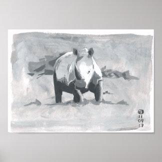 Malerei des Nashorns blickend in Richtung des Poster