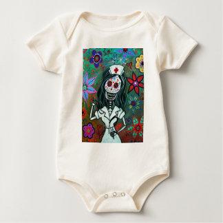 Malerei Dia de Los Muertos Nurse RN Baby Strampler