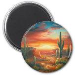 Malerei einer bunten Wüsten-Sonnenuntergang-Malere Kühlschrankmagnet