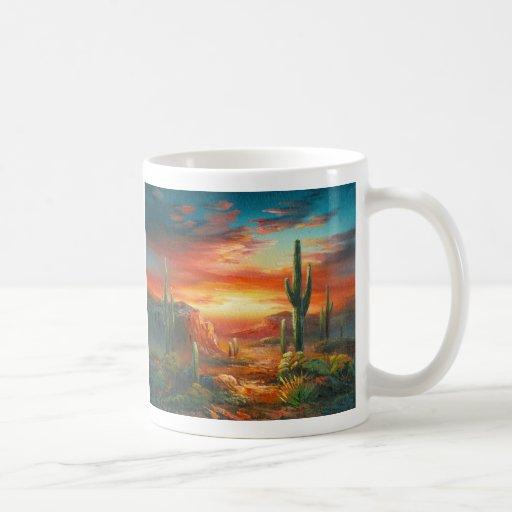 Malerei einer bunten Wüsten-Sonnenuntergang-Malere Tee Tassen