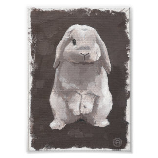 Malerei eines niedlichen Kaninchens, das oben Poster