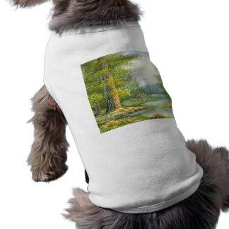Malerei eines Waldes mit Fluss-Briefmarke Top