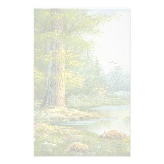 Malerei eines Waldes mit Fluss Personalisierte Druckpapiere