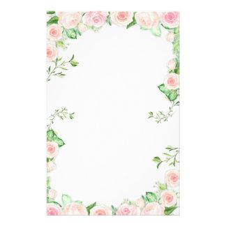 Malerei-Grenze der süßen rosa Rosen Briefpapier