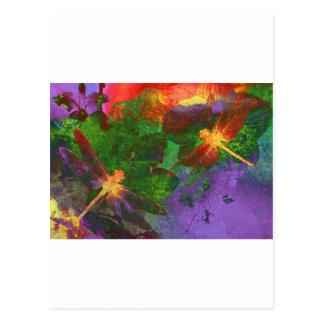 Malerei-Libellen und Blumen Postkarte