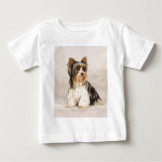 Malerei Porträt Yorkie Fräuleins Mia Foto Baby T-shirt