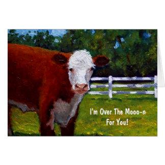 Malerei von Hereford Rindfleisch: Über dem Mond Karte