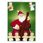 Malerei von Weihnachtsmann Cello mit spielend Grußkarte