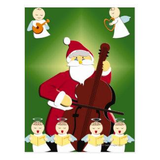 Malerei von Weihnachtsmann Cello mit spielend Postkarte
