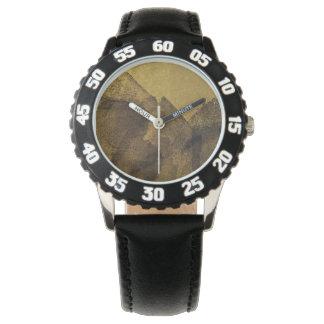 Malereibürstenanschläge des Schwarzen des gelben Armbanduhr