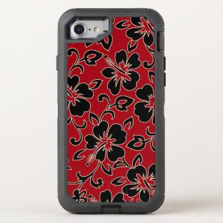 Malia Hibiskus hawaiischer Pareau Druck im Rot OtterBox Defender iPhone 8/7 Hülle