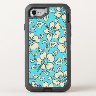 Malia Hibiskus hawaiischer Pareau Druck in Turq OtterBox Defender iPhone 8/7 Hülle