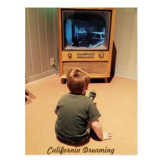 Malibu Kalifornien, das Retro Fernsehen träumt Postkarte