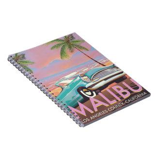 Malibu, Los Angeles, Kalifornien-Reiseplakat Spiral Notizblock
