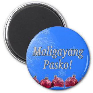 Maligayang Pasko! Frohe Weihnachten in Tagalog wf Runder Magnet 5,7 Cm