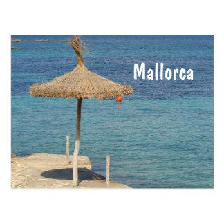 Mallorca - Stroh-Regenschirm-Postkarte Postkarte