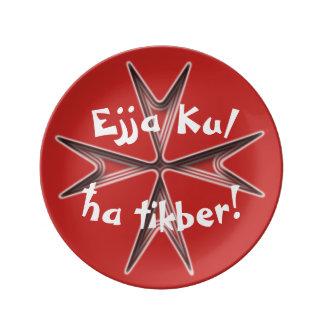 Malta-Andenken, Ejja Kul ha Tikber, essen erhalten Porzellanteller