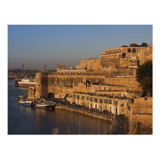 Malta, Valletta, Hafenansicht von niedrigerem Barr Postkarte