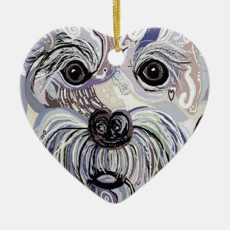 Maltesisch in den Denim-Farben Keramik Ornament