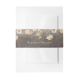 Malvenfarbe und Goldrustikale mit Blumenhochzeit Einladungsbanderole