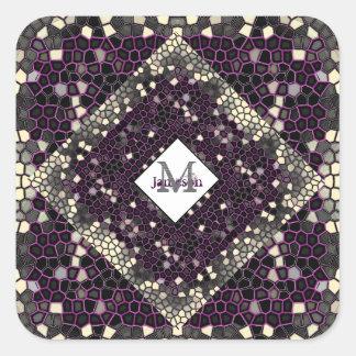 Malvenfarbene Mosaik-Leidenschaft Quadratischer Aufkleber