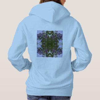 Malvenfarbener Baum-Blumen-u. Himmel-FraktalHoodie Hoodie