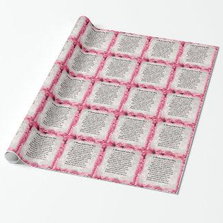 Mama-Gedicht - rosa Blumenmuster Geschenkpapier