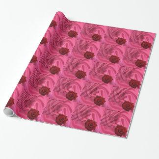 Mama-Gedicht - rosa Seide u. Rose Geschenkpapier