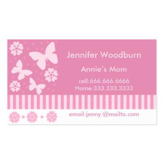 Mama-Geschäfts-Karten - rosa Schmetterlings-Blumen Visitenkarten