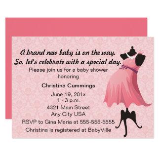 Mama-Mannequin-Babyparty-Einladung (Rosa) 12,7 X 17,8 Cm Einladungskarte