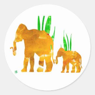 Mama und ich Elefant Runder Aufkleber