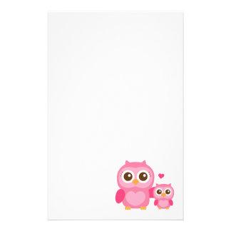 Mama und ich, niedliche Baby-Eule, rosa Individuelle Büropapiere