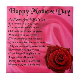 Mamagedicht - Mutter-Tag - rosa Seide u. Rose Fliese