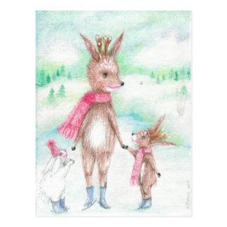 Mamarotwild mit Bambi Baby und Häschen huggles Postkarte